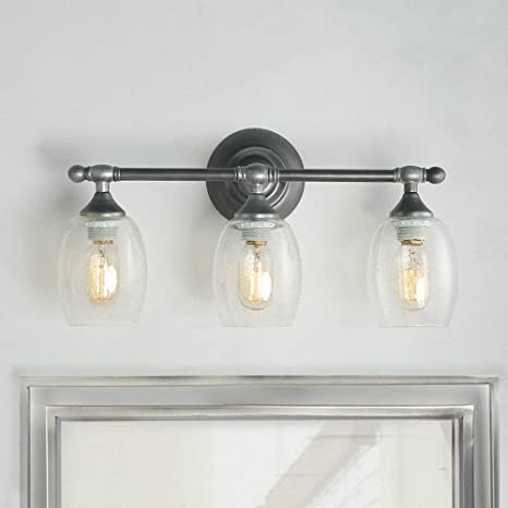 Incredible Log Barn A03354 Metal Vanity Wall Light 3 Light Farmhouse Bathroom Lighting Fixtures In Brushed Silver Finish With Clear Seeded Glass Download Free Architecture Designs Momecebritishbridgeorg