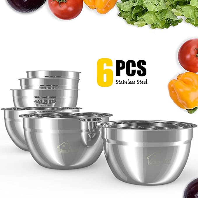 Mixing Bowls Stainless Steel, Thickened Premium Nesting Bowls by Umite Chef, Matte and Mirror Finish, For Healthy Meal, Nesting and Stack able, Set of 6 Sizes 1.59, 2.11, 2.85, 3.59, 4.65, 5.50 QT