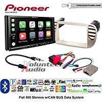 Volunteer Audio Pioneer AVH-2440NEX Double Din Radio Install Kit with Apple CarPlay, Android Auto and Bluetooth Fits 2012-2015 Fiat 500 (White)