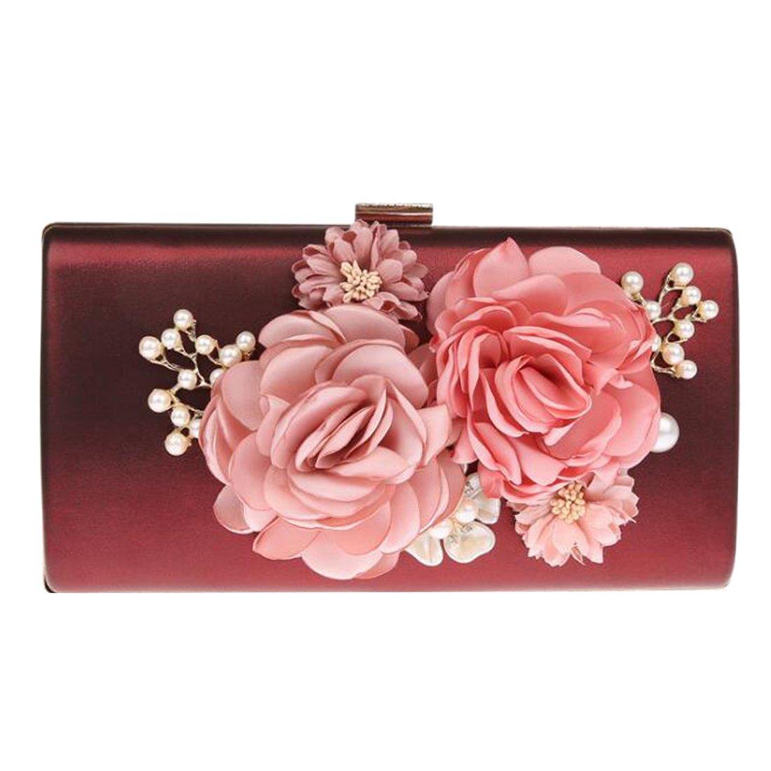 EPLAZA Women Large Capacity Flora Evening Party Bags Clutch Purse Vintage Wedding Handbags Wallet (burgundy)