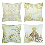 BOJIN Decorative Throw Pillow Covers 18x18 Inch Square Peach Skin Cushion for Sofa Bedroom Car Set of 4 - Golden Lines
