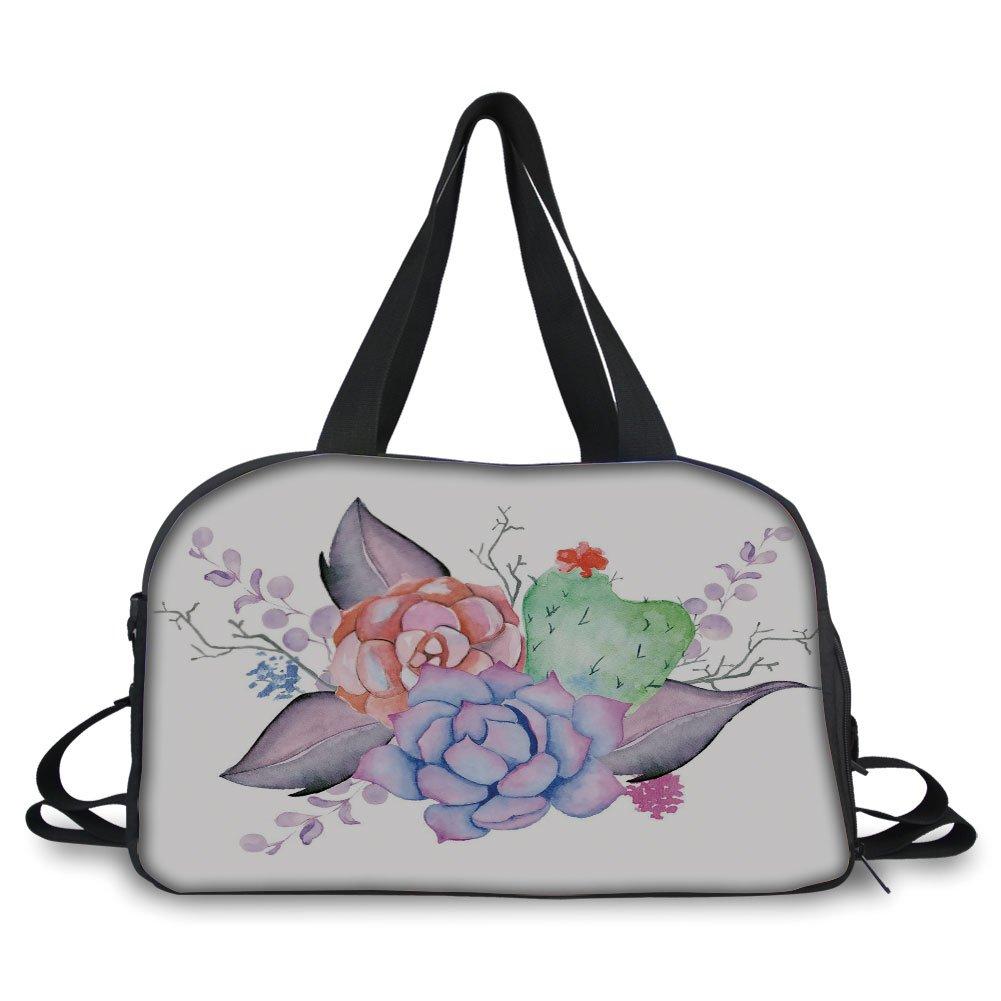 iPrint Travel handbag,Succulent,Boho Style Bouquet Romantic Summer Blossoms Botany Garden Bridal Wedding Theme Decorative,Multicolor ,Personalized