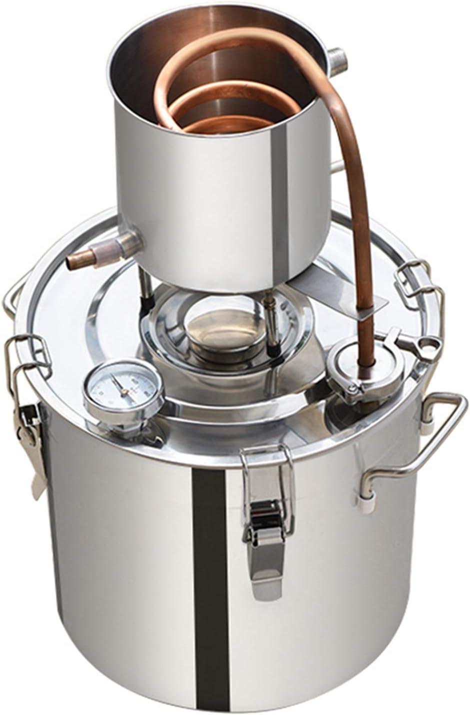 XIONGGG Destilador Moonshine Still, Destilador De Alcohol De Agua, Kit De Equipo De Fabricación De Vino De Caldera De Acero Inoxidable con Tubo De Cobre para Whisky,50L