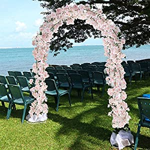 XYXCMOR Artificial Vines Silk Cherry Blossom Garland Fuax Hanging Flowers Fake Wreath for Indoor Outdoor Wedding Arch Party Wall Garden Home Patio Decorations 2pcs 5.9Ft Pink 3