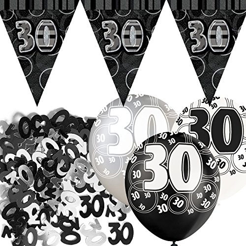 Black Silver Sparkle 30th Birthday Flag Banner Party Decoration Pack Kit (Black And Silver 30th Birthday Decorations)