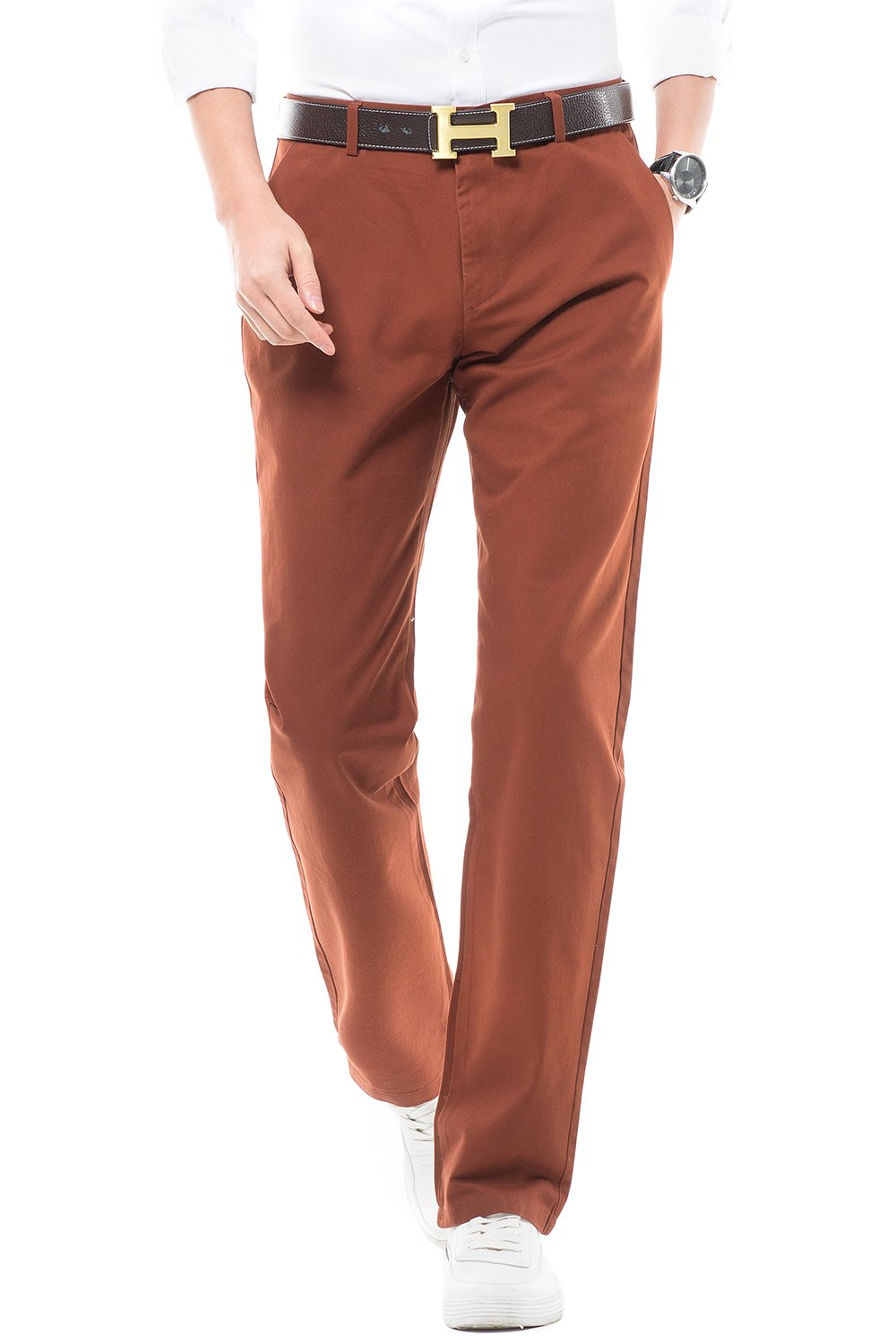 INFLATION Men's Pants Casual 100% Cotton NO Elasticity Straight Trousers CASE ME