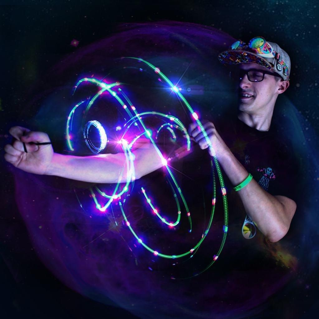 GloFX Black Ion Orbit 3 LED Light Orbit Rave Orbital Round Circle Zero Rattle 3GO-ION-B