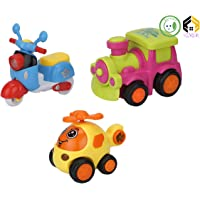 Aarushi Friction Powered Cars Push and Go Scooter, Helicopter, Train Vehicles Toys Gift for Kids (Pack of 3)