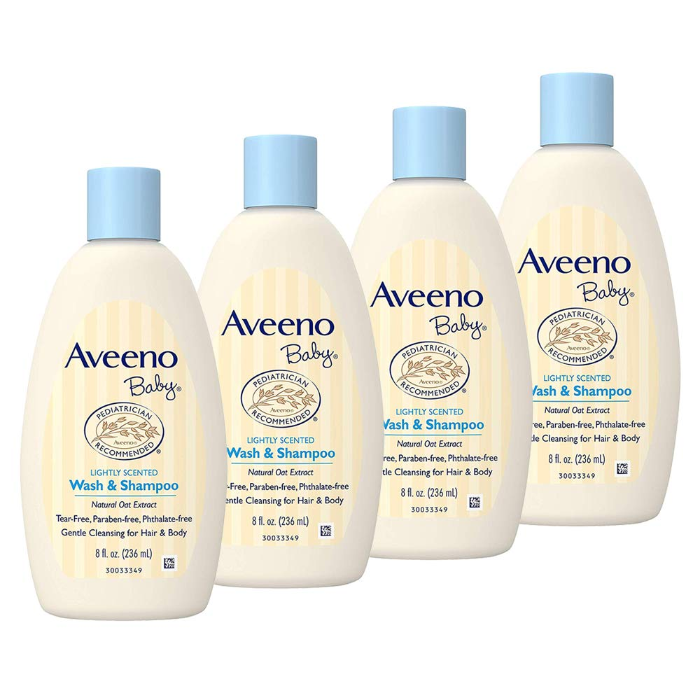 Aveeno Baby Gentle Wash & Shampoo with Natural Oat Extract, Tear-Free & Paraben-Free Formula for Hair & Body, Lightly Scented, 8 Fl. Oz (Pack of 4) by Aveeno Baby