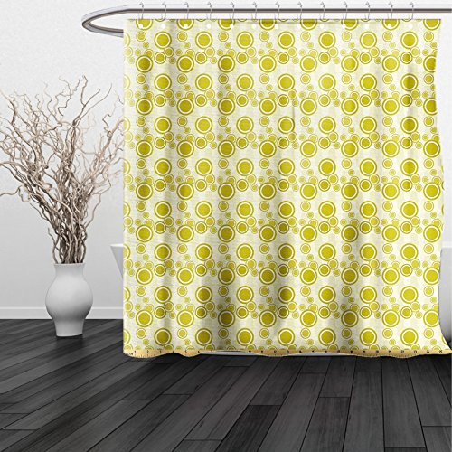 Kansas Jayhawks Stained Glass (HAIXIA Shower Curtain Retro by Big and Little Dots on Abstract Backdrop Vintage Style Geometric Pattern Pale Green Yellow White)