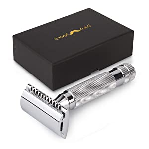 CHARMMAN Classic 3-piece Double Edge Safety Shaving Razor, 1 Razor + 10 pcs Super Stainless Blades + Luxurious Packaging