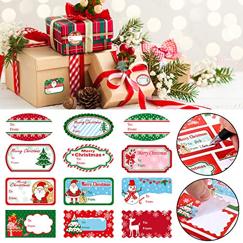 Christmas Self Adhesive Labels Gift Name Tag Christmas Stickers with Santa Claus Snowmen Xmas Tree Deer Stickers for Festival Christmas Birthday Wedding Presents Gift Labels (102 Pieces, 11.8 x 7.3 In