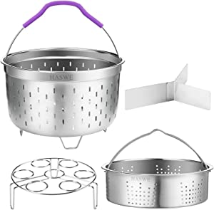 Haswe Steamer Basket for instant Pot Pressure Cooker, Accessories Set Compatible with 5/6/8 Qt InstaPot -18/8 Stainless Steel Strainer Insert with Silicone Handle,Divider,Egg Steamer Rack, 6 Quart