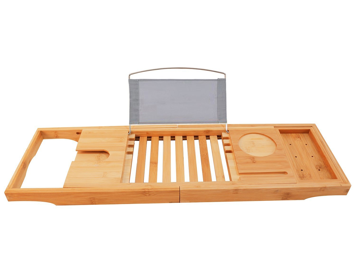 LIMAM Adjustable Bamboo Bathtub Caddy Tray Shower Organizer/Expandable Serving Tray/Water Resistant /Phone and Wine Glass