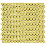 SomerTile FKOMPR06 Penny Porcelain Mosaic Floor and Wall Tile, 12'' x 12.625'', Vintage Yellow