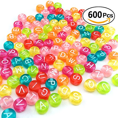 Colorful Acrylic Beads - 600 PCs 7mm X 4mm Alphabet Uppercase Round Letter Beads DIY Colorful Acrylic Cylinder Column Bracelets Necklaces Kid Children Jewelry Making