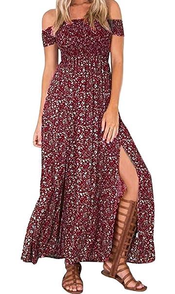 Vestiti Estivi Lunghi Donna Beach Estate Abito Lungo Casual Largo Elegante  senza Manica Sexy Maxi per ca10b42e2e79