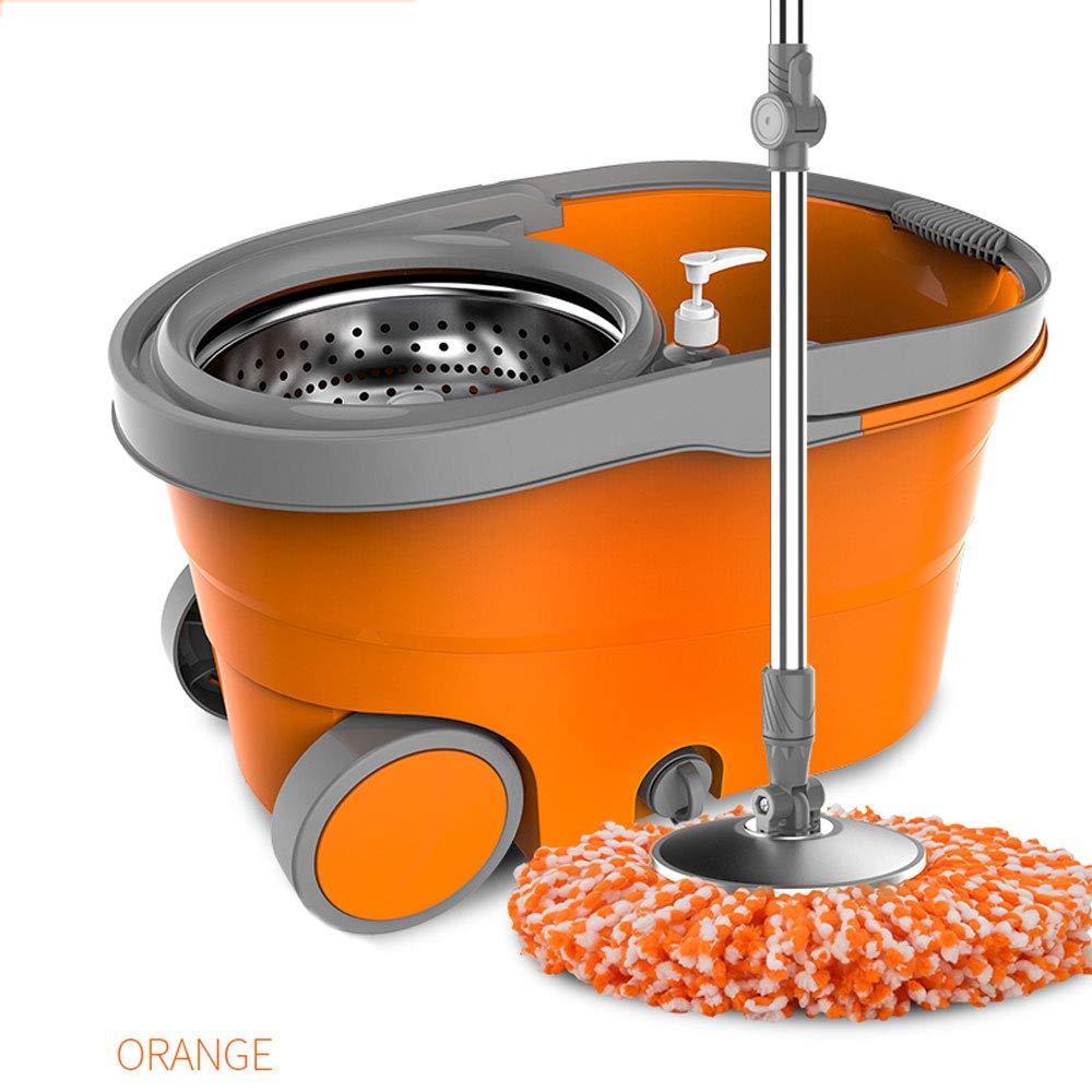 LJJL 手で洗うことなく家庭を回るモップ二重駆動湿った乾燥したデュアルユーズドレイジーモップ フロアスプレーモップ (色 : ORANGE, サイズ さいず : C) B07PZWD1D4 ORANGE C