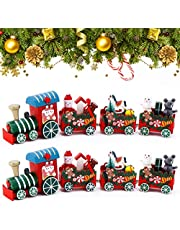 Christmas Train Toys Mini Wooden Christmas Train Toys Kids Wooden Train Model Early Educational Toys Under Christmas Tree Ornaments Kids Gift Toys for Christmas Party Office Kindergarten Decoration (2pcs)