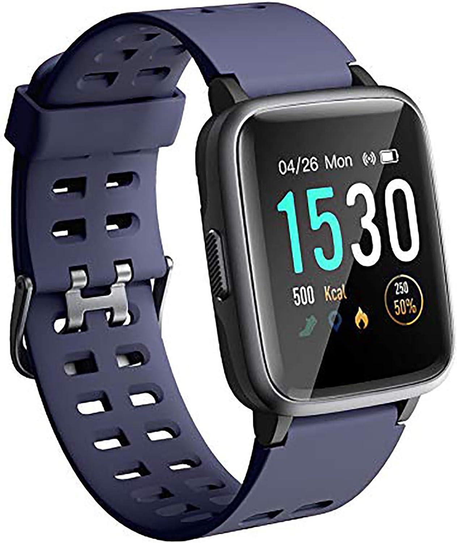 ANGGO Reloj Inteligente Mujer Hombre Smartwatch Niño Niña 5ATM Impermeable Pantalla Táctil Completa Reloj de Fitness con Monitore de activida, Pulsómetro, iOS Android Pulsera de Actividad