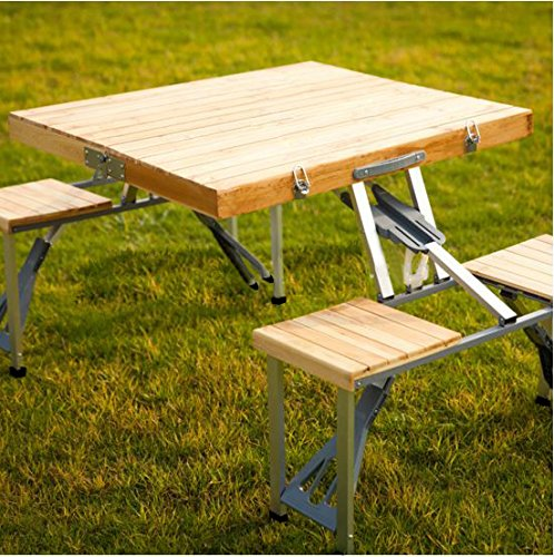 Plixio Portable Folding Wooden Picnic Table With 4 Bench Seats Tables Patio And Furniture