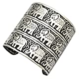 Silver Plated Q&Q Fashion Egypt African Embossed Vintage Elephant OM Hindu Ganesha Bracelet Bangle Cuff