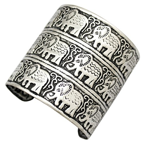 - Silver Plated Q&Q Fashion Egypt African Embossed Vintage Elephant OM Hindu Ganesha Bracelet Bangle Cuff