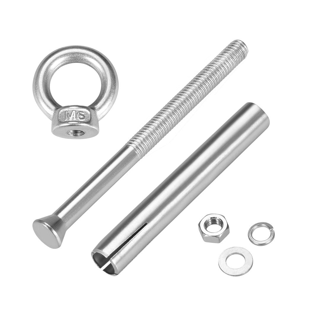 uxcell M12 x 100 Expansion Eyebolt Eye Nut Screw with Ring 304 Stainless Steel Anchor Raw Bolts 2 Pcs