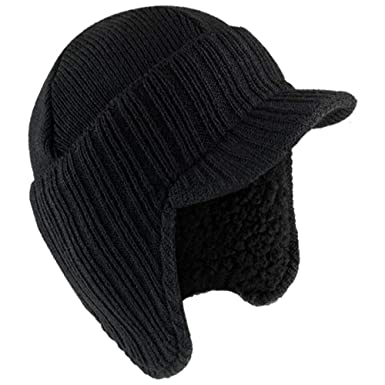 67106a6ed6e ROCKJOCK Mens Knitted Peaked Winter Hat Cap Beanie with Fleece Lining   Amazon.co.uk  Clothing