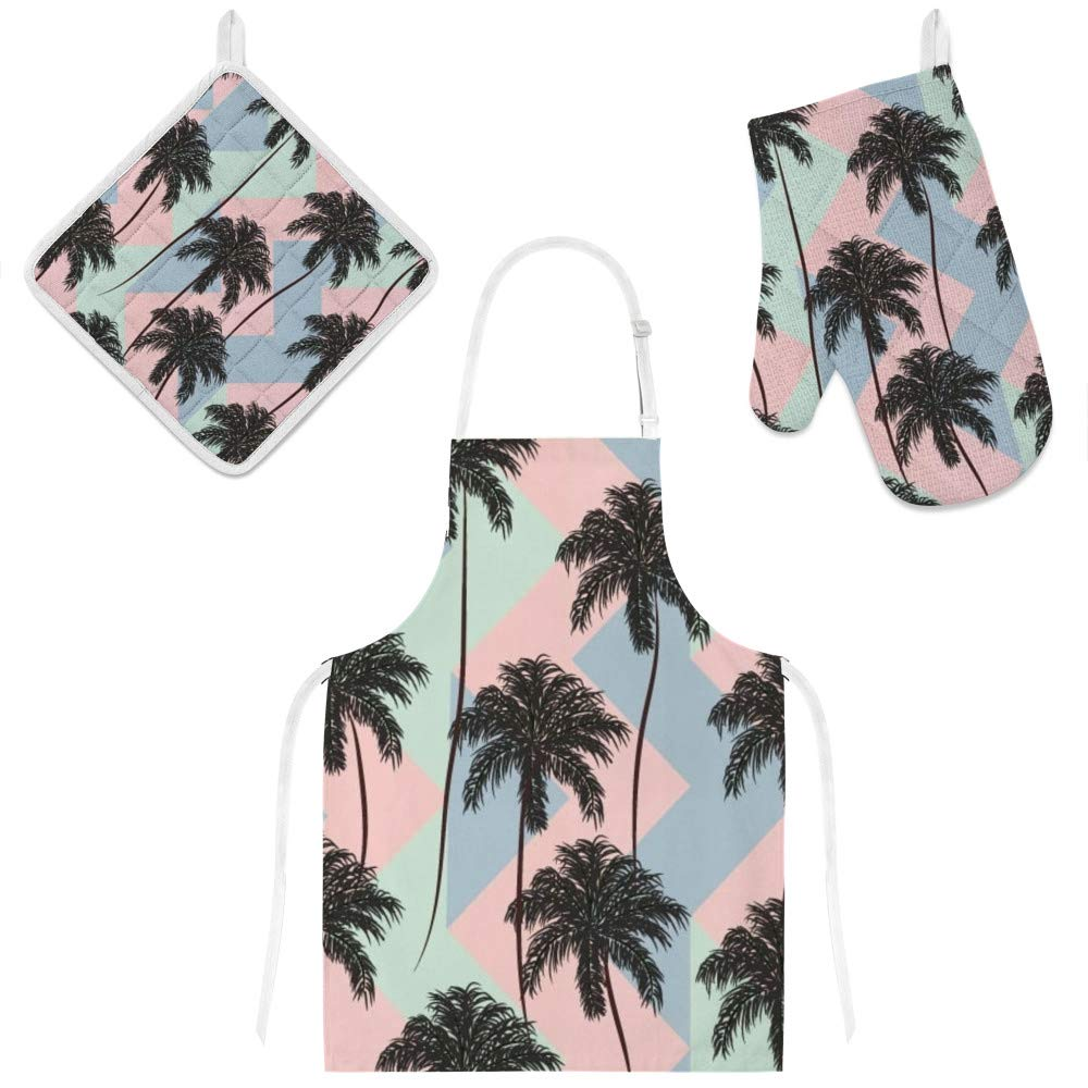 Top Carpenter Polyester Insulation Kitchen Oven Mitts Potholder Apron 3Pcs Set Palm Trees and Retro Geometric Non Slip Heat Resistant Gloves for Baking Cooking BBQ