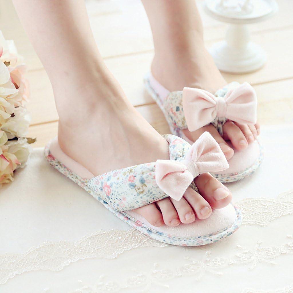 Fortunings JDS/® Femmes Filles Floral Confortable Coton Maison Pantoufles Rose Tongs avec Un Arc Forme Plate Sandales /à Talon Ouvert