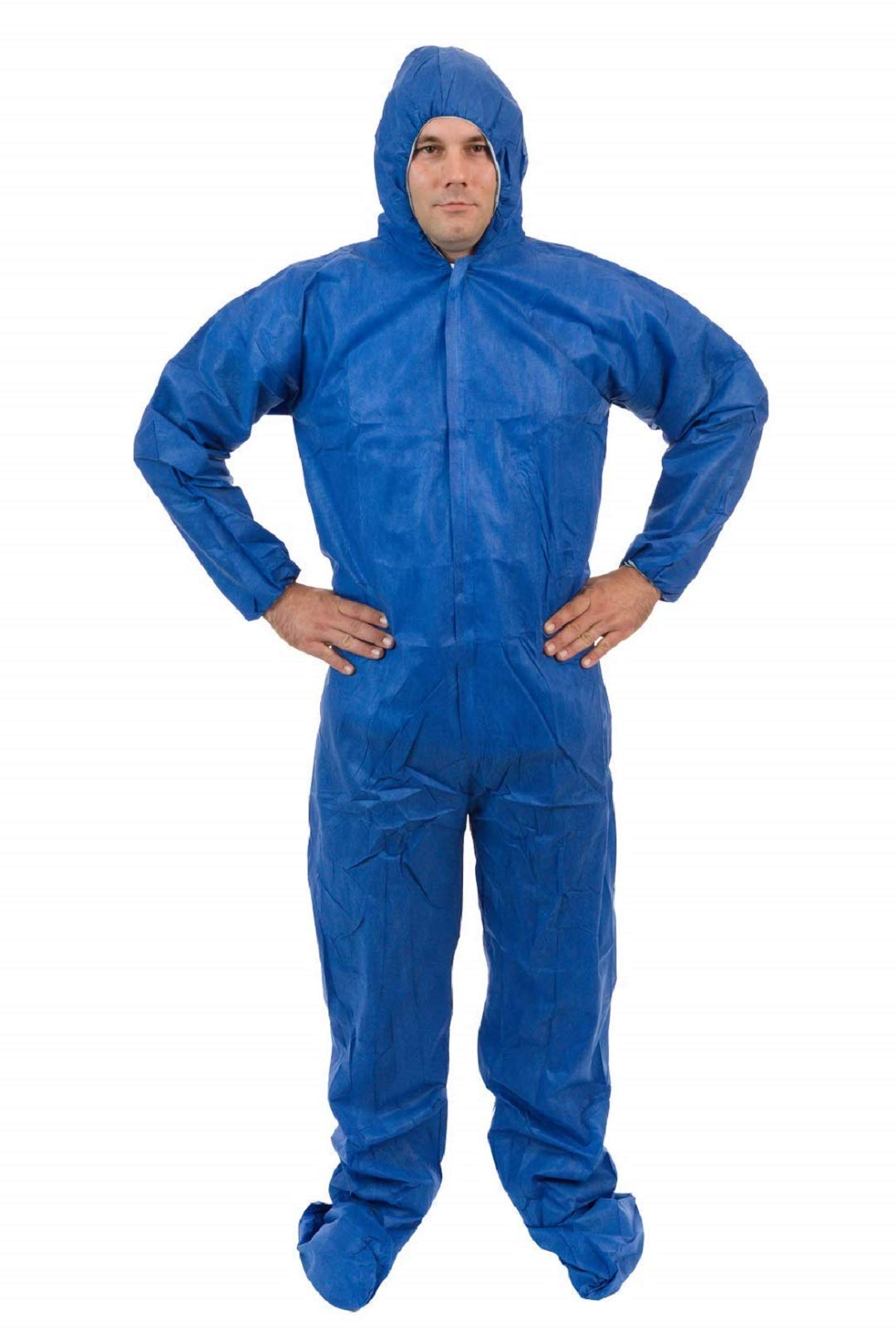 International Enviroguard - Standard SMS 3 Layer General Protective Coverall for General Cleanup (Blue) (25 per case) (5XL, Attached Hood & Boot)