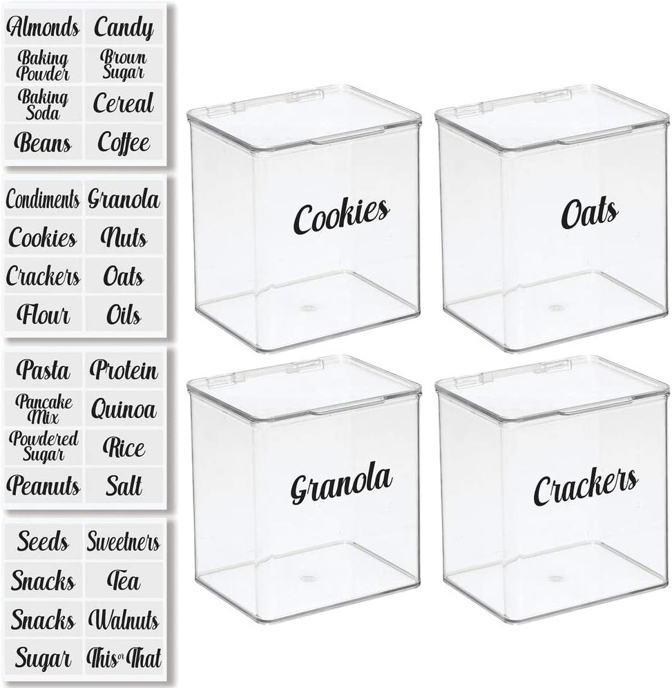 mDesign Plastic Stackable Kitchen Pantry Cabinet/Refrigerator Food Storage Container Box, Attached Lid - Organizer for Coffee, Tea, Packets, Snack Bars - Pack of 4, Includes 32 Labels - Clear