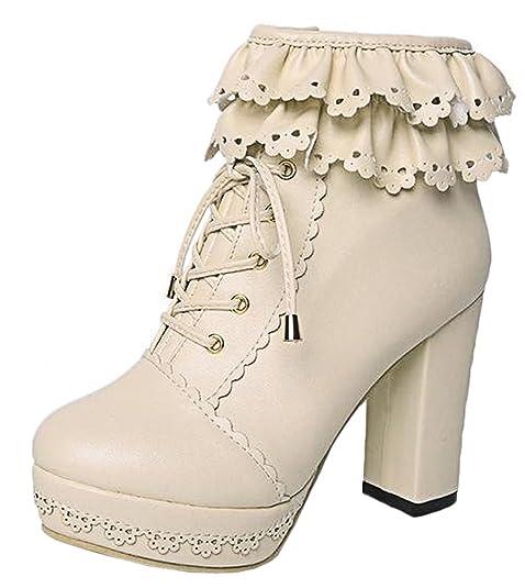 Scothen Botines con cordones Zapatos de mujer Botines clásicos Botines Botines de tacón alto Zapatos de