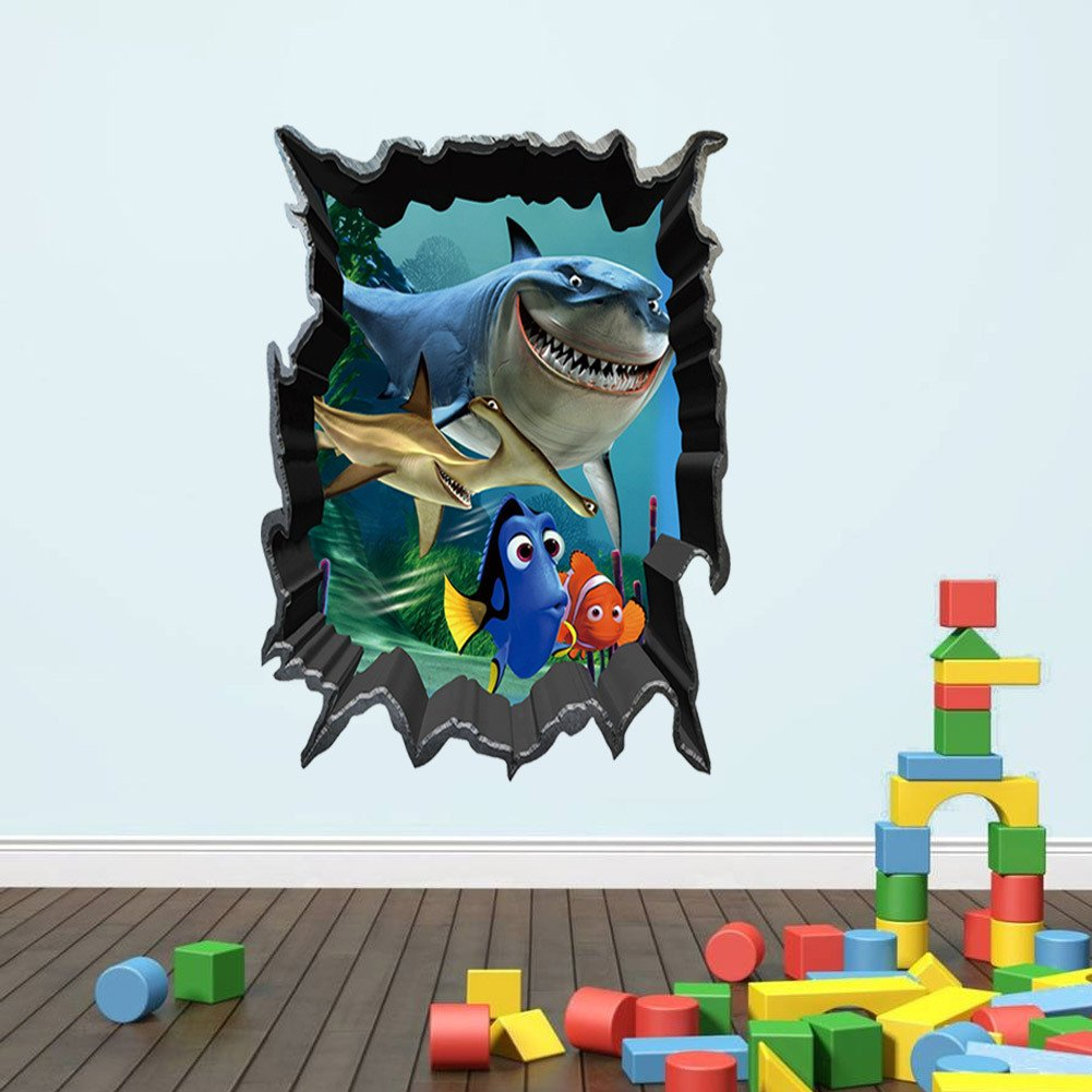 Home Decor Room Art 3D Wall Sticks Seaside Landscape with Palm Sailboat Ocean Fish Birds for Kid's Room Girl's Room Nursery Enid Wing