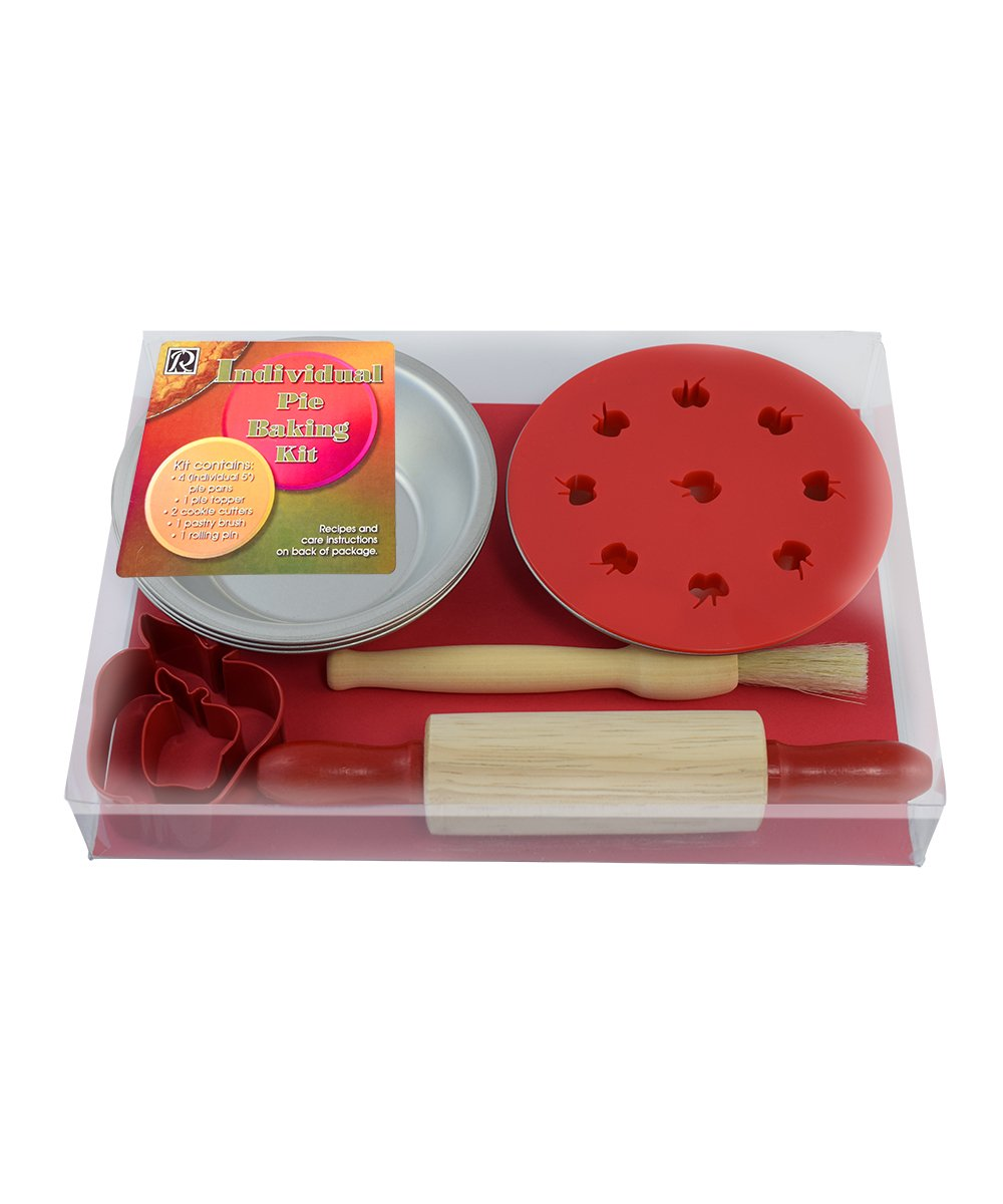 and 2 Cookie Cutters Topper R/&M International 2253 Individual Apple Pie Baking Set with 4 Pans Rolling Pin Brush