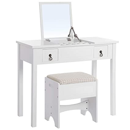 5b92df99683c4 VASAGLE Vanity Set with Flip Top Mirror Makeup Dressing Table Writing Desk  with 2 Drawers Cushioned