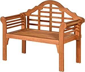 Tangkula Outdoor Wood Folding Bench, 4 Ft Foldable Solid Wood Garden Bench, Two Person Loveseat Chair for Garden, Patio, Porch, Poolside, Balcony, Teak (Natural)