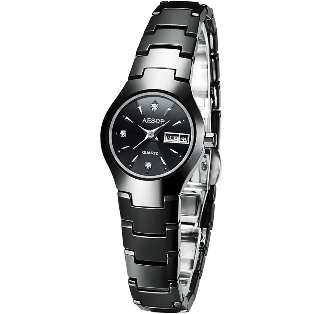 Ceramic Lovers Couple Watch Women Men Date Sapphire Crystal Quartz Wristwatch Ladies Watches (Women)