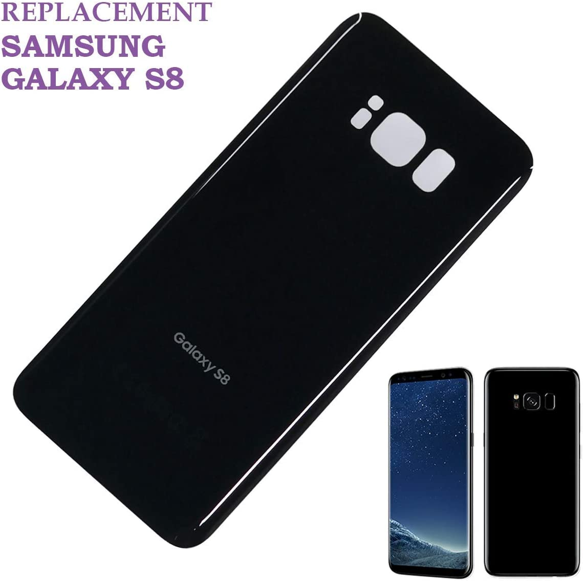 Original Replacement Back Glass Cover Back Battery Door w//Pre-Installed Adhesive Samsung Galaxy S8 OEM Black All Models G950 All Carriers OEM Replacement