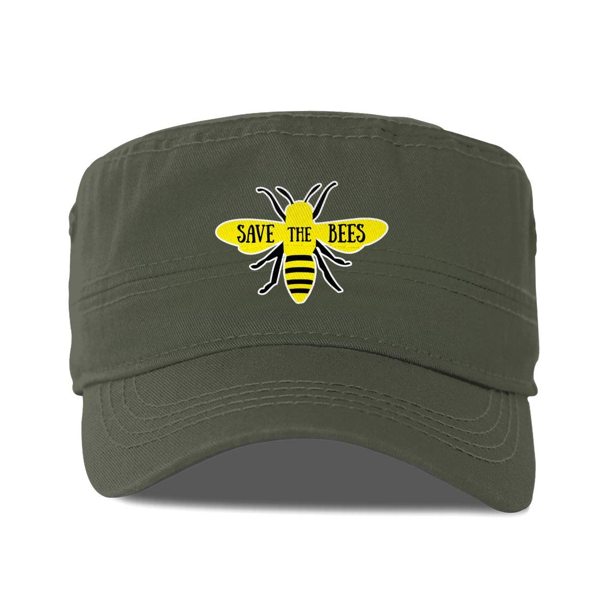 Save The Bees Unisex Adult Cotton Military Army Cap Flat Top Hat