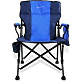 Kamileo Camping Chair, Folding Portable Lawn Chair with Padded Armrest Cup Holder and Storage Pocket (Carry Bag Included…