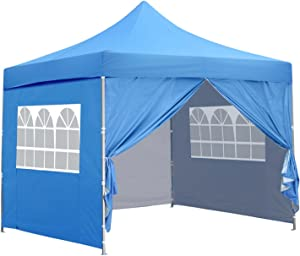10x10 Ft Outdoor Pop Up Canopy Tent with 4 Removable Side Walls Instant Gazebos Shelters
