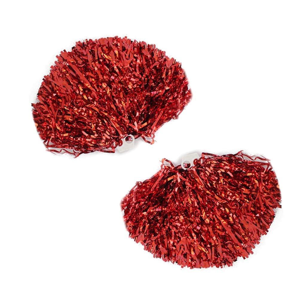Red HanYoer Cheerleading Pom Poms, Cheerleading Metallic Foil & Plastic Ring Pom Poms Flower Ball 1 Pair(2 pcs) Party Sports Accessories Dance Cheer Pompoms Weddings Team
