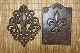 Cast Iron Decor Fleur De Lis House Warming Gift Set Vintage Style Fleur De Lis Design Wall Plaque Bundle of 2 pieces