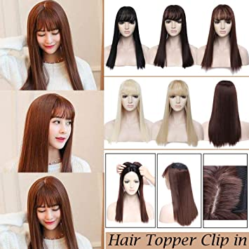 Amazon Com 17 Long Straight Hair Topper With Wispy Thin Air Bangs