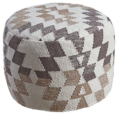 Ashley Furniture Signature Design - Abraham Pouf - Handmade - Imported - Traditional - White and (Miles Storage Ottoman Bench)