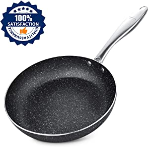 Frying Pan 9.5 Inch, Stone-Derived Nonstick Coating Skillets, Stainless Steel Handle Cooking Pan, Induction Compatible, Oven Safe, Dishwasher Safe, Granite/Gift Box Included