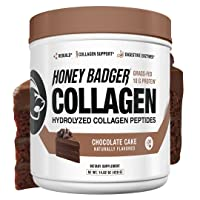 Honey Badger Natural Keto Collagen Peptides Protein Powder | Chocolate Cake | Gluten Free Paleo + Amino Acids BCAA Digestive Enzymes | Hydrolyzed Grass-Fed Protein Supplement | 30 Servings