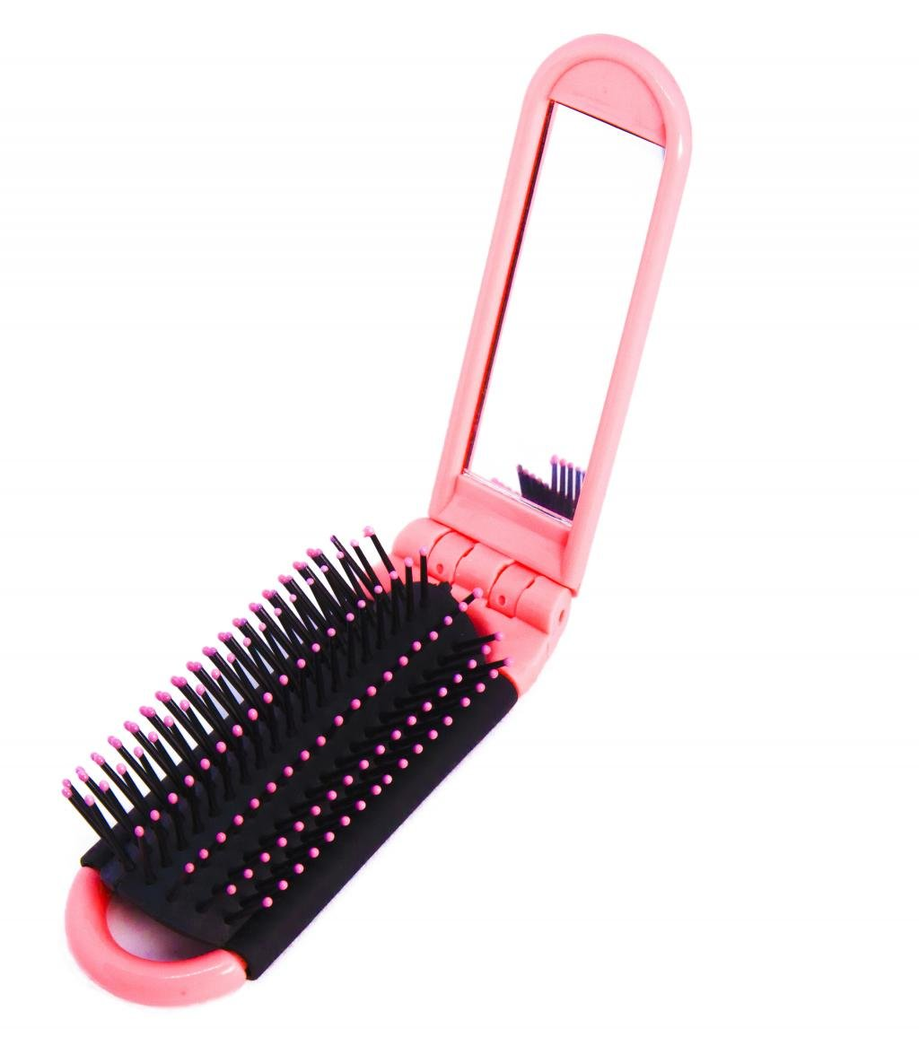 7a80c6852015 LOUISE MAELYS Portable Folding Hair Brush with Mirror Compact Pocket Hair  Comb for Travel Gift Idea